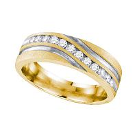 10k Yellow Gold Mens Round Diamond 2-tone Wedding Anniversary Band Ring 1/4 Cttw