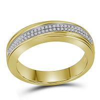 10kt Yellow Gold Mens Round Diamond Double Row Crossover Wedding Band 1/5 Cttw
