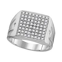 10kt White Gold Mens Round Diamond Polished Square Cluster Ring 1/2 Cttw