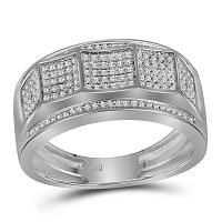 10kt White Gold Mens Round Diamond Band Ring 1/3 Cttw