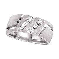 14kt White Gold Mens Round Diamond Double Two Row Wedding Matte Band Ring 1/2 Cttw
