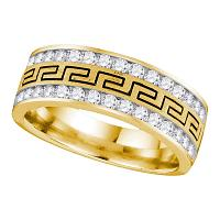 14kt Yellow Gold Mens Round Diamond Double Row Grecco Greek Key Wedding Band 1.00 Cttw