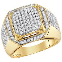 10kt Yellow Gold Mens Round Diamond Square Elevated Cluster Ring 1-1/2 Cttw