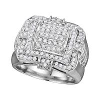 10kt White Gold Mens Round Diamond Layered Square Frame Cluster Ring 1.00 Cttw