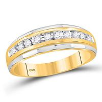 10kt Yellow Gold Mens Round Diamond Single Row Grooved Wedding Band Ring 1/4 Cttw