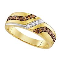 10kt Yellow Gold Mens Round Cognac-brown Color Enhanced Diamond Wedding Anniversary Band Ring 1/3 Cttw