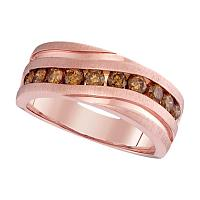 10kt Rose Gold Mens Round Diamond Wedding Single Row Grooved Band Ring 1.00 Cttw