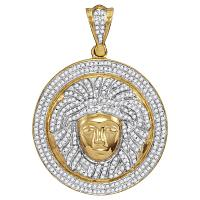 10kt Yellow Gold Mens Round Diamond Gorgon Medusa Circle Medallion Charm Pendant 1.00 Cttw