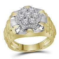 10kt Two-tone Yellow White Gold Mens Round Diamond Flower Cluster Ribbed Ring 1.00 Cttw