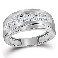 10kt White Gold Mens Round Diamond Wedding Band Ring 1.00 Cttw