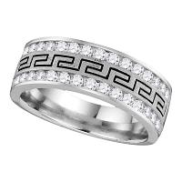 14k White Gold Mens Round Diamond Grecco Wedding Anniversary Band 1/2 Cttw