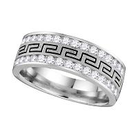 14k White Gold Mens Round Diamond Grecco Wedding Anniversary Band 3/4 Cttw