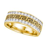 14kt Yellow Gold Mens Round Diamond Grecco Wedding Band Ring 1/4 Cttw