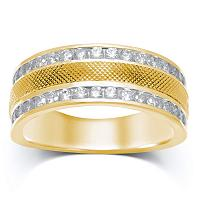 14kt Yellow Gold Mens Round Diamond Double Row Textured Wedding Band Ring 1.00 Cttw