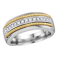 10kt White Gold Mens Round Pave-set Diamond Yellow-tone Rope Wedding Band 3/8 Cttw