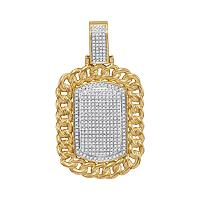 10kt Yellow Gold Mens Round Diamond Cuban Link Frame Outline Dog Tag Cluster Charm Pendant 7/8 Cttw