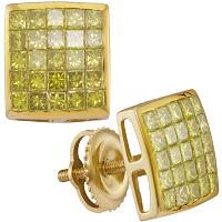 10kt Yellow Gold Mens Princess Yellow Color Enhanced Diamond Square Cluster Earrings 1.00 Cttw
