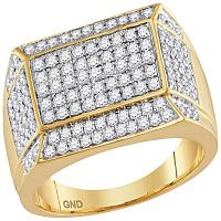 14kt Yellow Gold Mens Round Diamond Rectangle Cluster Ring 1-1/2 Cttw
