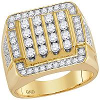 10kt Yellow Gold Mens Round Diamond Square Cluster Ring 2.00 Cttw
