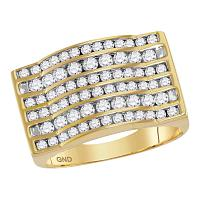 10kt Yellow Gold Mens Round Diamond Rectangle Channel-set Cluster Domed Ring 1-3/4 Cttw