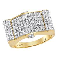 10kt Yellow Gold Mens Round Diamond Rectangle Domed Cluster Ring 1-1/2 Cttw
