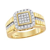 10kt Yellow Gold Mens Round Diamond Square Frame Cluster Ring 1.00 Cttw