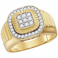 10kt Yellow Gold Mens Round Diamond Square Frame Cluster Ribbed Ring 3/4 Cttw