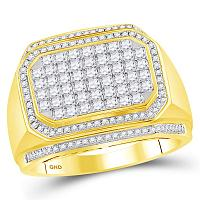 14kt Yellow Gold Mens Round Diamond Octagon Cluster Ring 1-5/8 Cttw