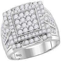 10kt White Gold Mens Round Diamond Framed Square Cluster Ring 2-1/4 Cttw