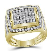 10kt Yellow Gold Mens Round Pave-set Diamond Square Frame Cluster Ring 2.00 Cttw
