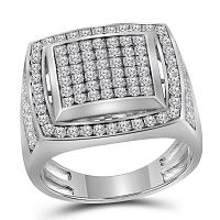 10kt White Gold Mens Round Pave-set Diamond Square Frame Cluster Ring 2.00 Cttw