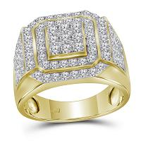 10kt Yellow Gold Mens Round Diamond Square Frame Cluster Ring 2-1/2 Cttw