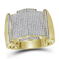 10kt Yellow Gold Mens Round Diamond Pointed Symmetrical Cluster Ring 5/8 Cttw
