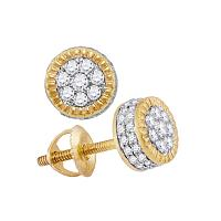 10kt Yellow Gold Mens Round Diamond Fluted Flower Cluster Stud Earrings 3/8 Cttw