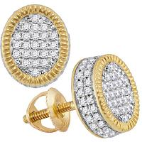 10kt Yellow Gold Mens Round Diamond Fluted Oval Cluster Stud Earrings 7/8 Cttw