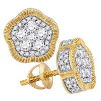 10kt Yellow Gold Mens Round Diamond Fluted Star Cluster Stud Earrings 3/4 Cttw
