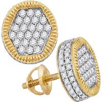 10kt Yellow Gold Mens Round Diamond Circle 3D Cluster Stud Earrings 1-1/10 Cttw