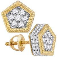 10kt Yellow Gold Mens Round Diamond Polygon Fluted Cluster Stud Earrings 7/8 Cttw