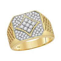 10kt Yellow Gold Mens Round Diamond Square Cluster Textured Ring 3/4 Cttw