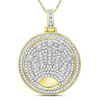 10kt Yellow Gold Mens Round Diamond King Crown Charm Pendant 7/8 Cttw