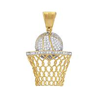 10kt Yellow Gold Mens Round Diamond Basketball Hoop Net Charm Pendant 3/4 Cttw