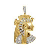 10kt Yellow Gold Mens Round Diamond Pharaoh Charm Pendant 3/8 Cttw