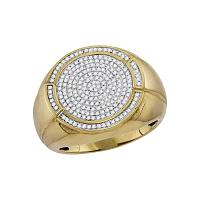 10kt Yellow Gold Mens Round Diamond Concentric Circle Cluster Ring 5/8 Cttw