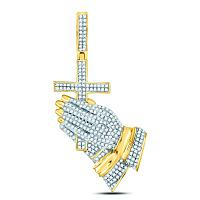 10kt Yellow Gold Mens Round Diamond Praying Hands Cross Charm Pendant 1-1/2 Cttw