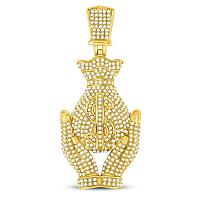 10kt Yellow Gold Mens Round Diamond Money Bag Hands Charm Pendant 2-1/6 Cttw