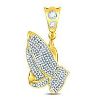 10kt Yellow Gold Mens Round Diamond Praying Hands Charm Pendant 1-1/5 Cttw