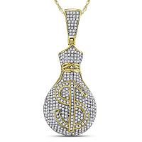 10kt Yellow Gold Mens Round Diamond Money Bag Dollar Sign Charm Pendant 1-1/6 Cttw