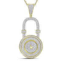 10kt Yellow Gold Mens Round Diamond Bank Padlock Charm Pendant 7/8 Cttw