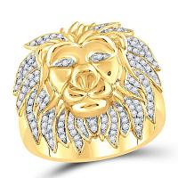 10kt Yellow Gold Mens Round Diamond Lion Mane Cluster Ring 5/8 Cttw