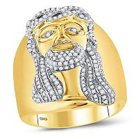10kt Yellow Gold Mens Round Diamond Jesus Christ Face Cluster Ring 1.00 Cttw